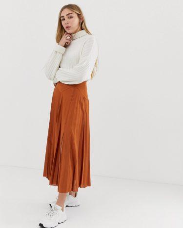 Fashion Shop - ASOS DESIGN pleated midi skirt with deep bask and split - Brown
