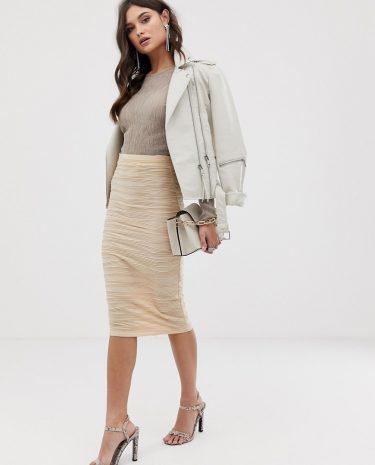 Fashion Shop - ASOS DESIGN textured jacquard pencil skirt - Cream