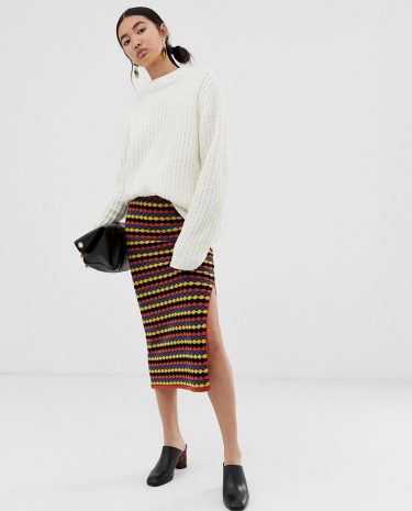 Fashion Shop - ASOS DESIGN textured stripe co-ord knitted skirt - Multi