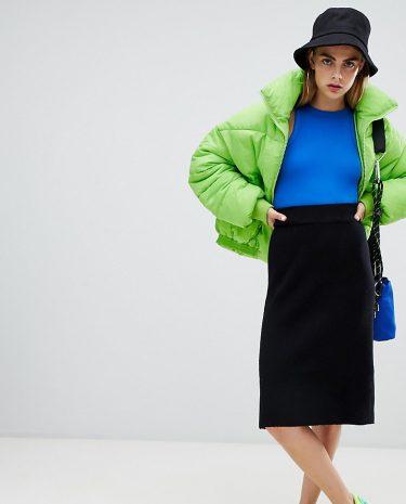 Fashion Shop - Bershka knitted pencil skirt - Black