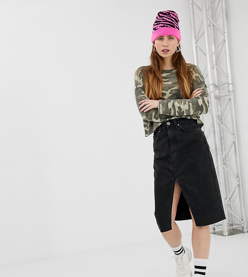 Fashion Shop - Bershka midi split front pencil skirt in black - Black