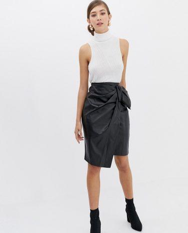 Fashion Shop - Closet Bow detail Asymetric Skirt - Black