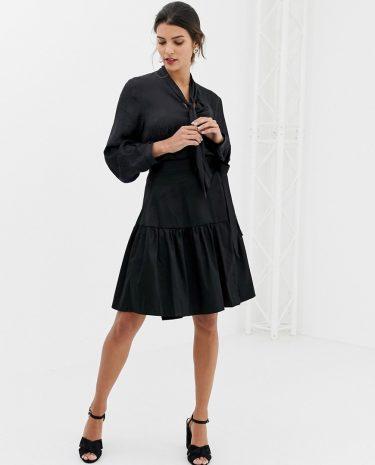 Fashion Shop - Closet Wrap Over Tie Waist Skirt - Black