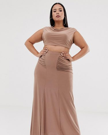 Fashion Shop - Club L London Plus ruched detail slinky maxi skirt in camel - Tan