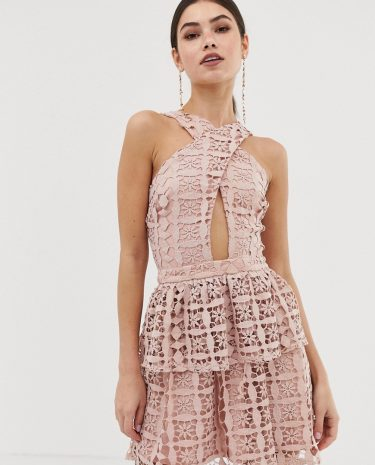 Fashion Shop - Girl In Mind halter mini dress with lace skirt - Pink