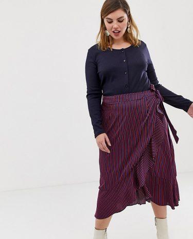 Fashion Shop - Glamorous Curve wrap midi skirt in satin stripe - Navy