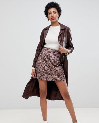 Fashion Shop - Glamorous Tall mini skirt in brushed pony leopard - Beige