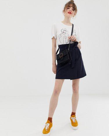 Fashion Shop - JDY pinstripe paperbag waist skirt - Multi