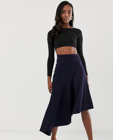 Fashion Shop - John Zack Tall Asymmetric skirt in blue - Blue