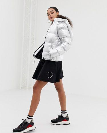 Fashion Shop - Love Moschino glitter stamp skater skirt - Black