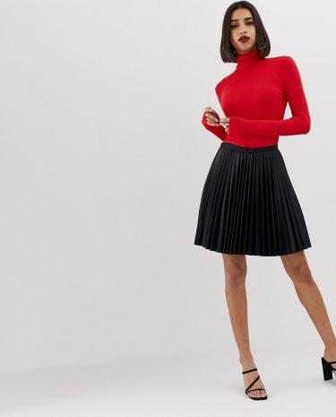 Fashion Shop - Morgan PU pleated mini skirt in black - Black