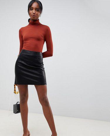 Fashion Shop - New Look Tall pu mini skirt in black - Black