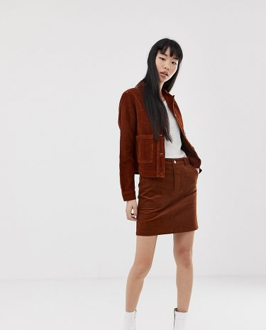 Fashion Shop - New Look skirt with button front in cord - Tan