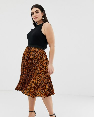 Fashion Shop - Outrageous Fortune Plus pleated midi skirt in zebra print - Multi