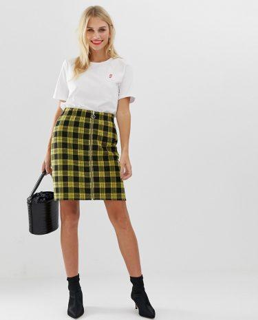 Fashion Shop - Pieces Tartan Zip Through A Line Mini Skirt - Yellow