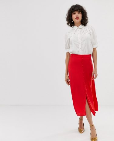 Fashion Shop - Pieces button through midi skirt in red - Red