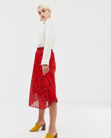 Fashion Shop - Selected Femme abstract leopard print pleated skirt - Red