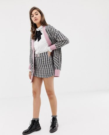 Fashion Shop - Sister Jane mini skirt with embellished bow in tweed co-ord - Multi