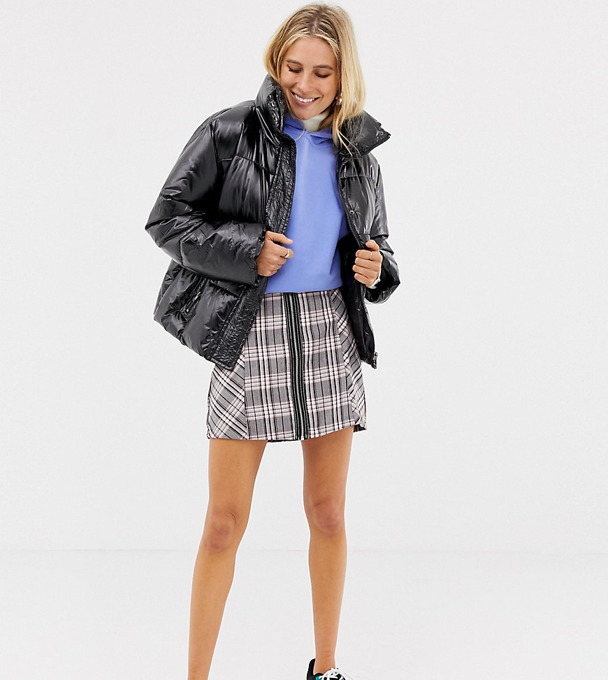 Fashion Shop - Stradivarius check zip front mini skirt - Pink