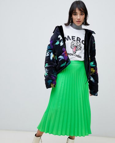 Fashion Shop - Stradivarius pleat skirt in neon green - Green
