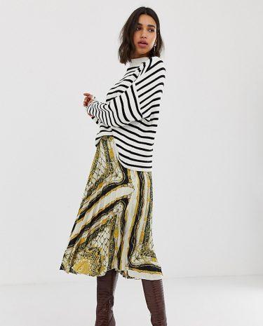 Fashion Shop - Stradivarius scarf print pleat skirt in multi - Multi