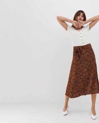 Fashion Shop - Vero Moda Abstract Animal Midi Skirt - Multi