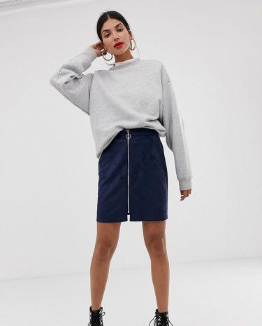 Fashion Shop - Vero Moda Tall Faux Suede Zip Front Skirt - Navy