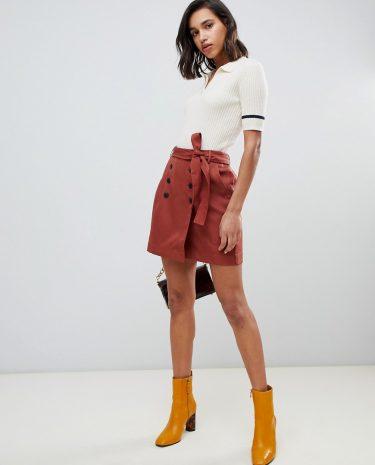 Fashion Shop - Vero Moda button front belted kilt mini skirt - Multi