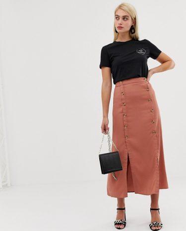 Fashion Shop - Vero Moda double split button front midaxi skirt - Brown