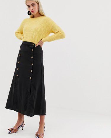 Fashion Shop - Vero Moda double split button front midaxi skirt in black - Black