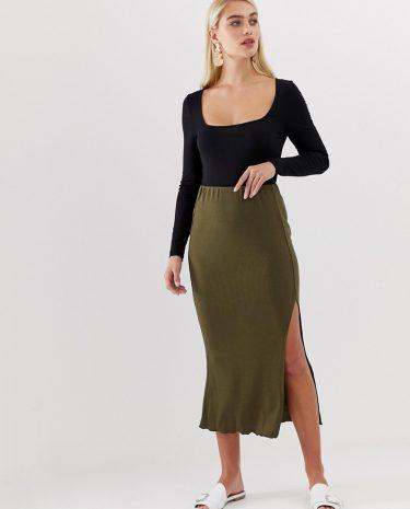 Fashion Shop - Vero Moda green rib maxi skirt with lettuce hem - Green