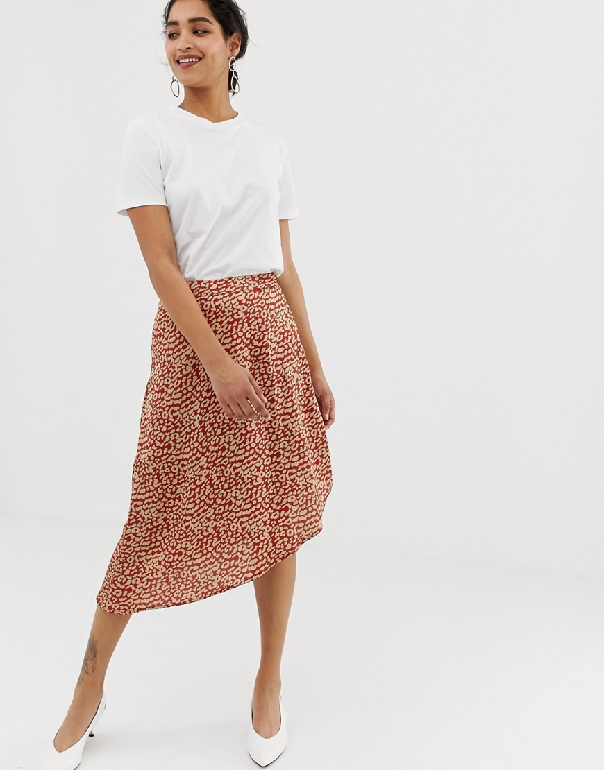 Fashion Shop - Vila satin leopard skirt - Multi