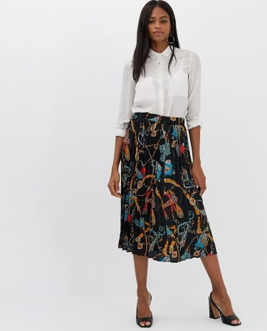 Fashion Shop - Vila scarf print pleated midi skirt - Multi