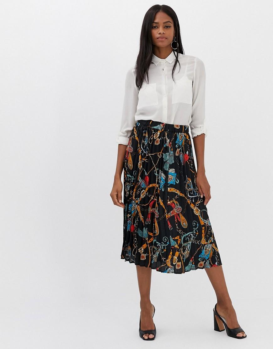 Fashion Shop - Vila scarf print pleated midi skirt - Multi