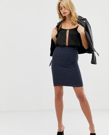 Fashion Shop - Y.A.S Tall Teresa ribbed panel pencil skirt - Navy