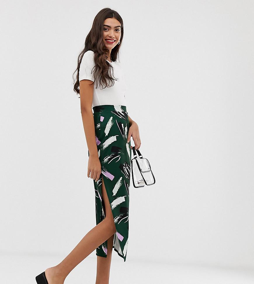 Fashion Shop - ASOS DESIGN Tall midi skirt with side split in brush print - Multi