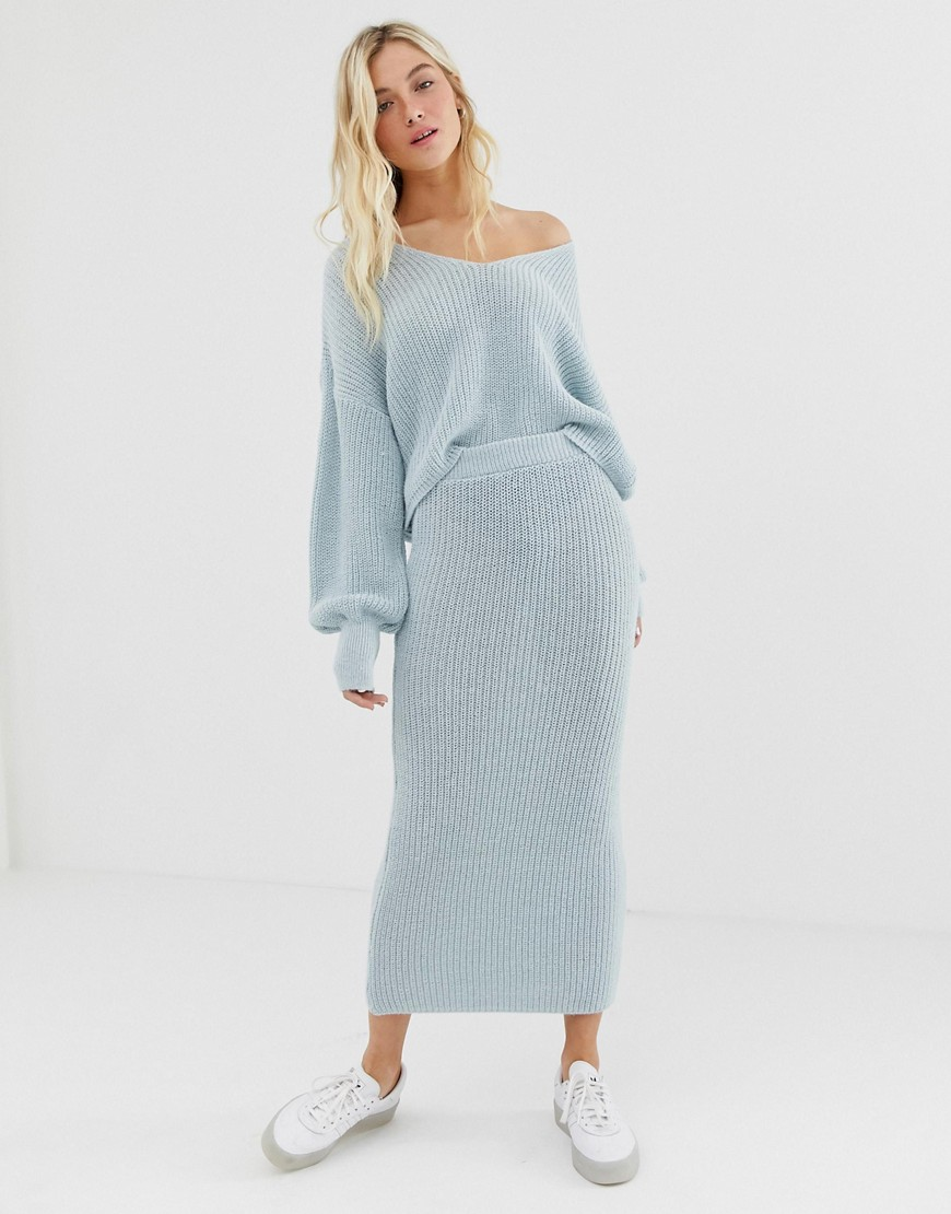 Fashion Shop - ASOS DESIGN co-ord skirt in ribbed knit - Blue