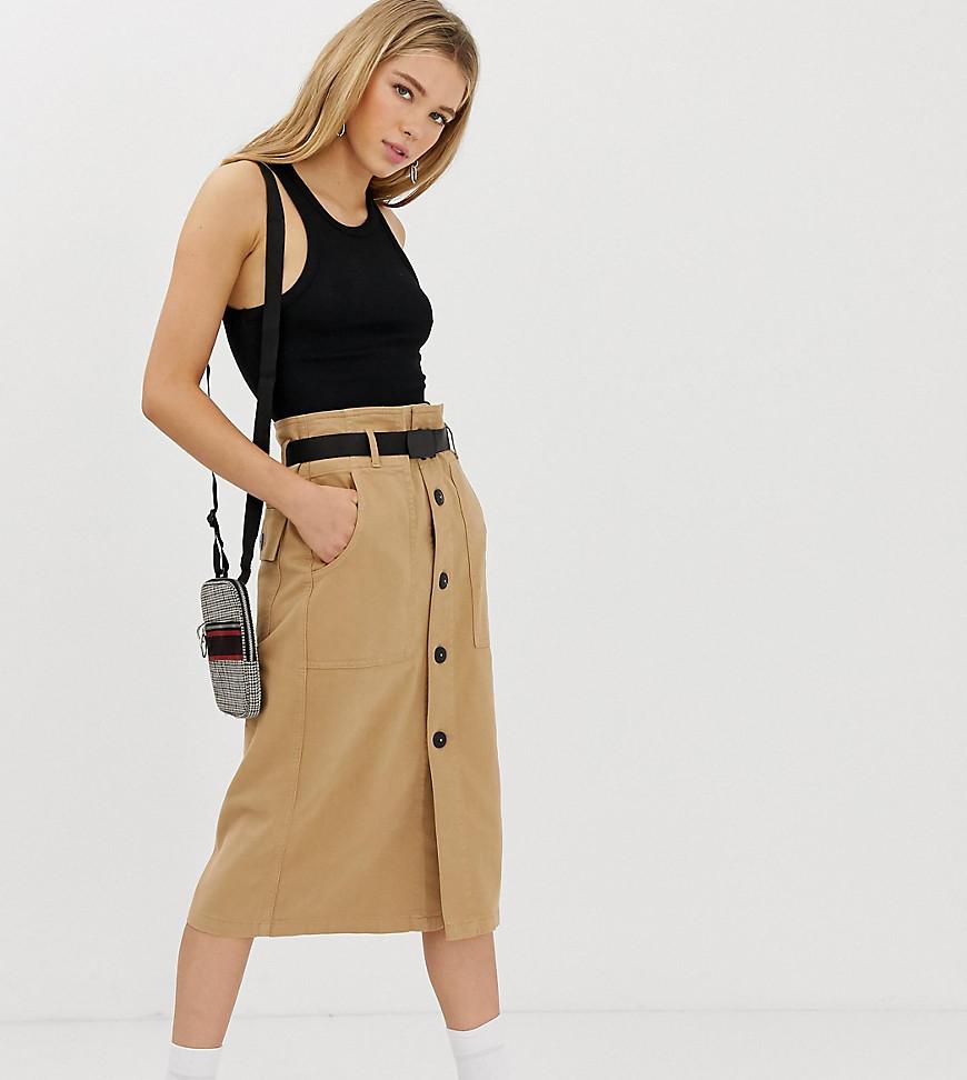 Fashion Shop - Bershka utility midi skirt with belt in brown - Brown
