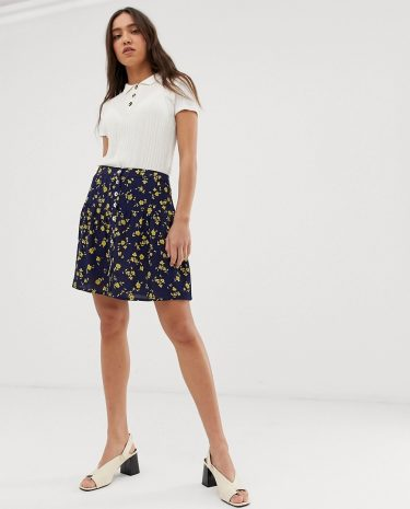 Fashion Shop - Leon & Harper 90's mini skirt in floral - Navy