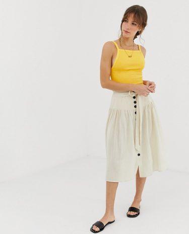 Fashion Shop - Leon & Harper buttondown midi skirt - Cream