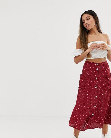 Fashion Shop - Miss Selfridge Petite midi skirt with button down in polka dot - Multi