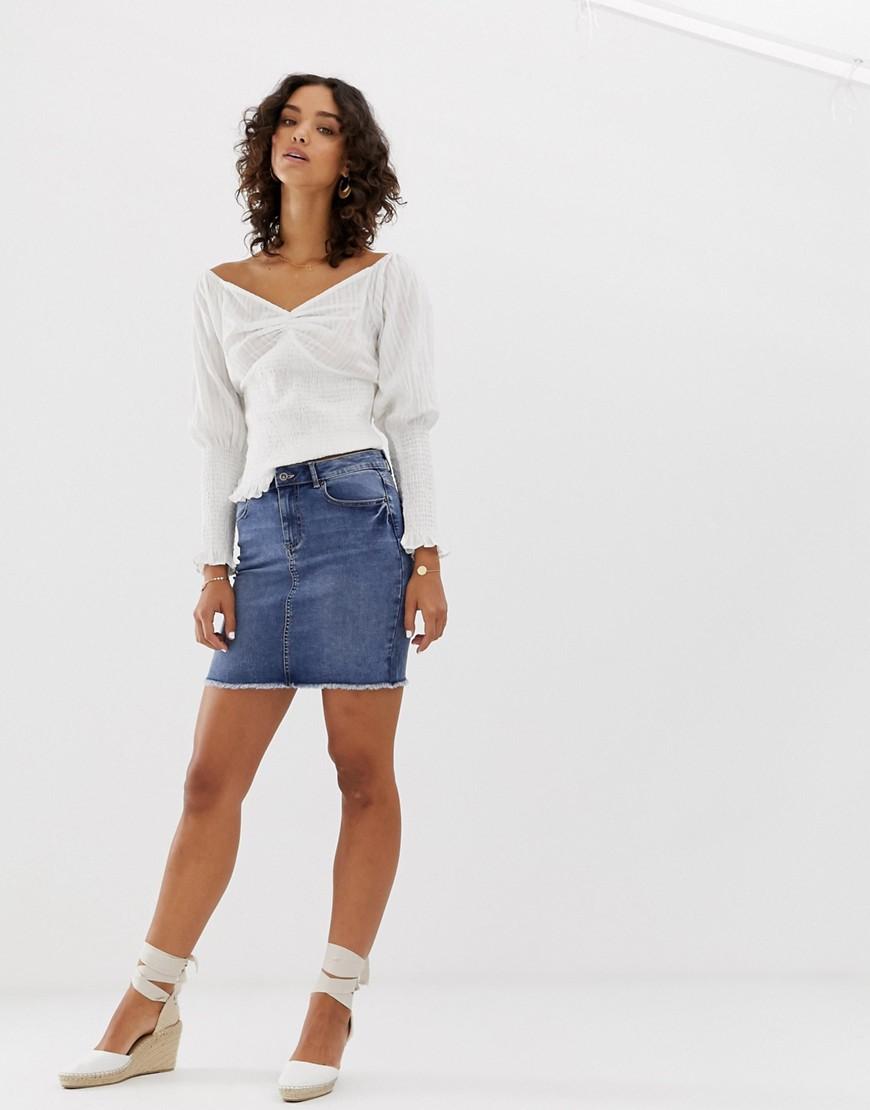 Fashion Shop - Pieces denim mini skirt in blue - Blue