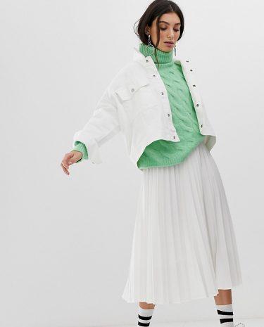 Fashion Shop - Stradivarius pleated midi skirt in white - Beige
