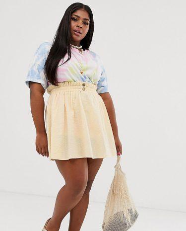 Fashion Shop - ASOS DESIGN Curve seersucker mini skirt with shirred waistband - Cream