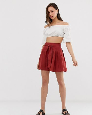 Fashion Shop - ASOS DESIGN Tall tie front mini skirt in cotton - Red