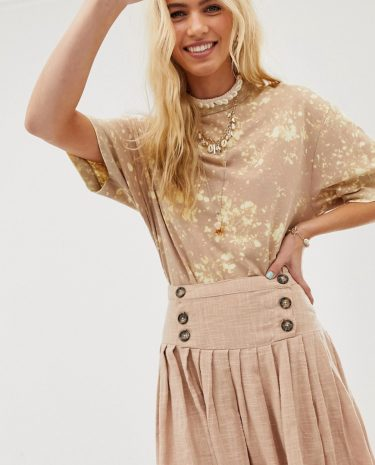 Fashion Shop - ASOS DESIGN textured drop waist midi skirt - Brown