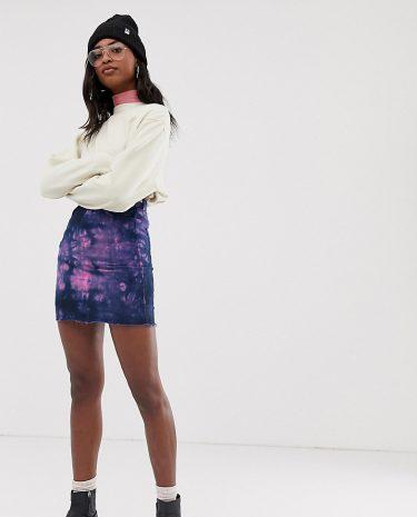 Fashion Shop - COLLUSION Tall denim mini skirt in tie dye - Multi