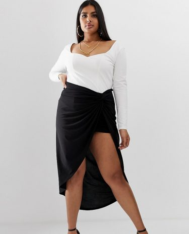 Fashion Shop - Club L London Plus knot front ruched skirt in black - Black