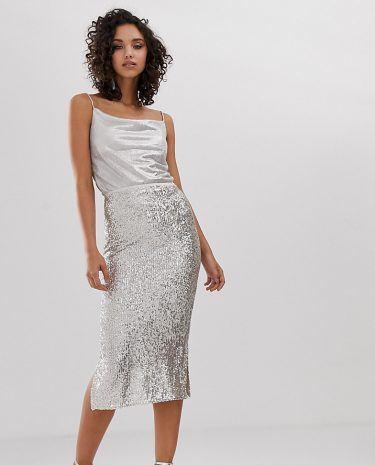 Fashion Shop - River Island sequin skirt in silver - Silver
