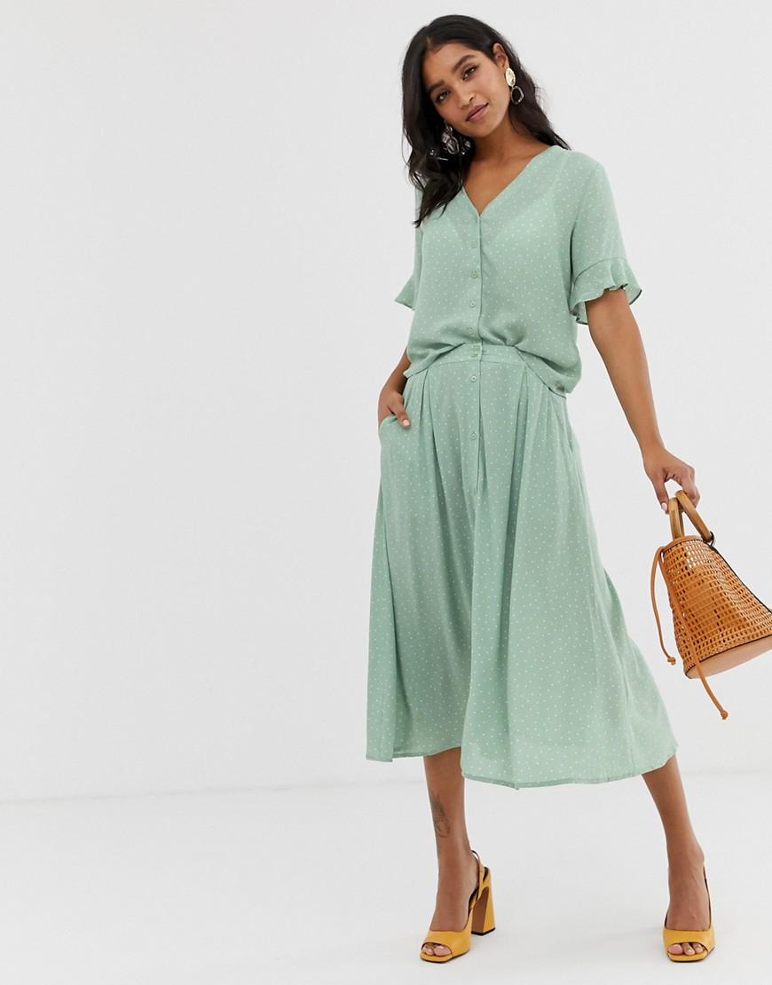 Fashion Shop - Vila spotty button through skirt